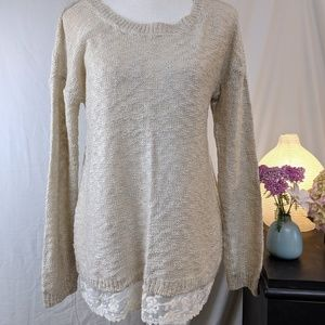Pink Rose Tan Flax-like Sweater, Lace Trim L